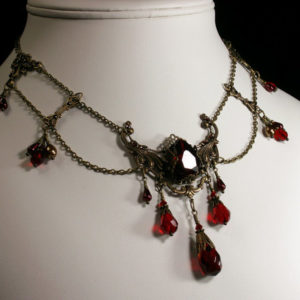 Blood Red Crystal Brass Steampunk Choker