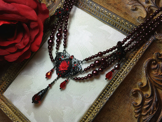 rose cameo red temptations jewelry victorian necklace black titanic product blood