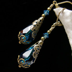 Peacock Blue Victorian Earrings