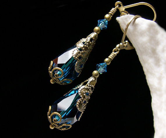 Peacock Blue Bronze Victorian Earrings