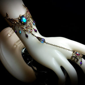 Aqua Purple Crystal Brass Slave Bracelet