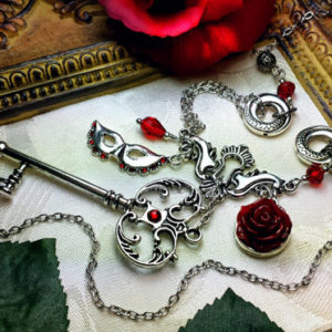 Phantom of the Opera Red Rose Silver Mask Key Necklace