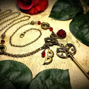 Phantom of the Opera Red Rose Mask Key Necklace