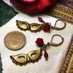 Phantom of the Opera Red Rose Mask Earrings
