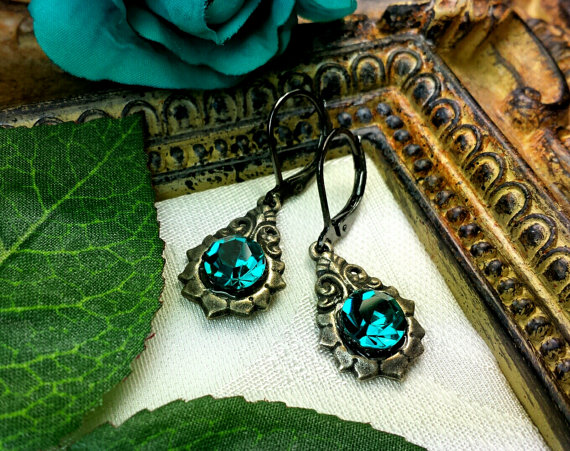 Blue Zircon Crystal Victorian Earrings