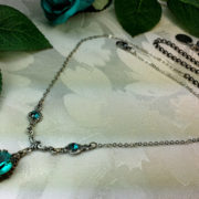 Blue Zircon Crystal Victorian Necklace