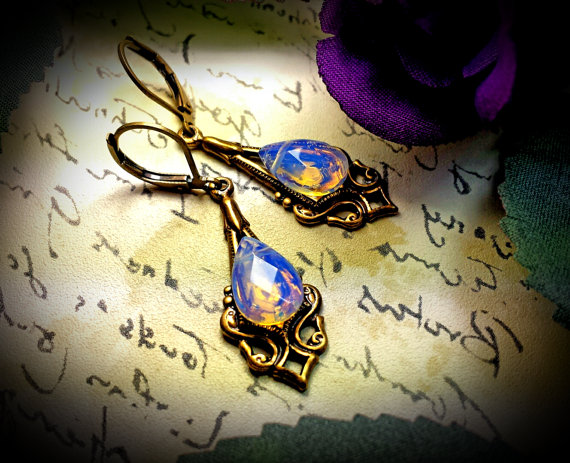 White Sea Opal Victorian Earrings