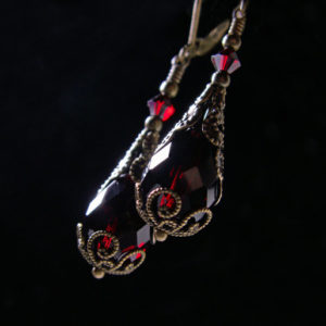 Blood Red Steampunk Earrings