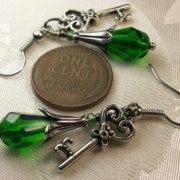 Emerald Green Key Steampunk Earrings
