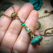 Turquoise Blue Genie Bottle Necklace