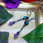 Aqua Purple Silver Victorian Earrings