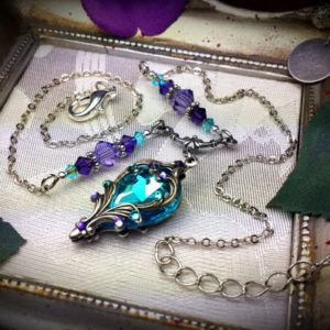 Aqua Purple Silver Victorian Necklace