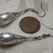 White Pearl Silver Filigree Victorian Bridal Earrings