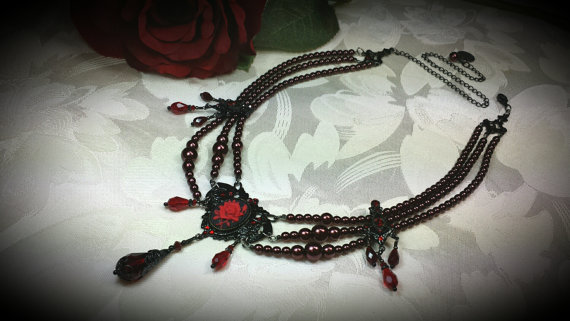 Black Red Rose Cameo Victorian Necklace