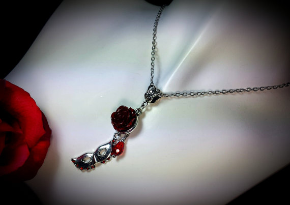 Phantom Of The Opera Red Rose Silver Mask Necklace