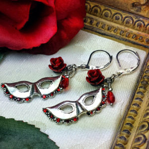 Phantom of the Opera Red Rose Silver Mask Earrings