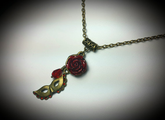 Phantom of the Opera Red Rose Mask Necklace