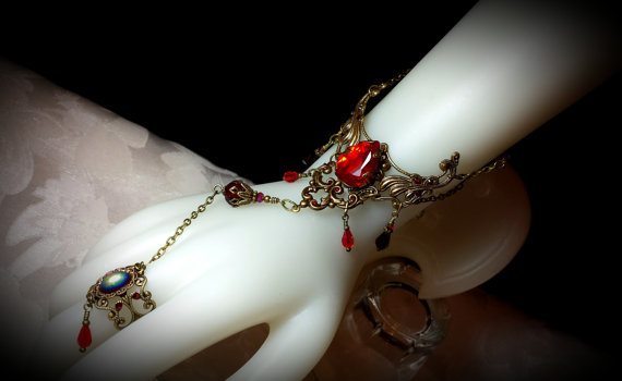 Blood Red Crystal Brass Slave Bracelet