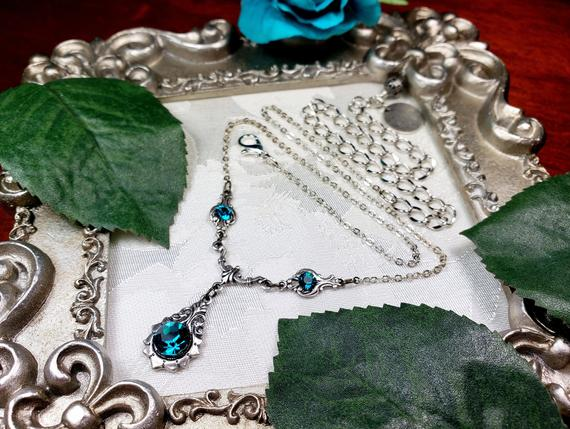 Blue Zircon New Silver Necklace 1