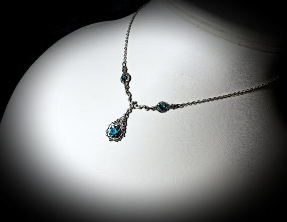 Blue Zircon New Silver Necklace 2