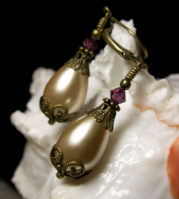 Ivory Amethyst Pearl Victorian Earrings