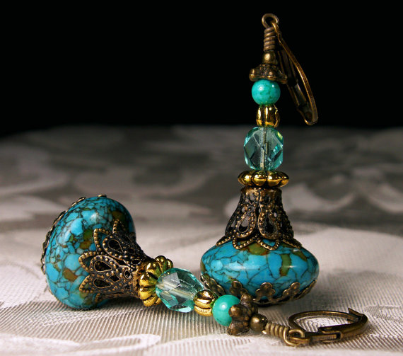Turquoise Blue Genie Bottle Earrings
