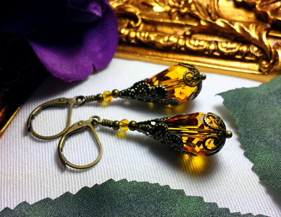 Yellow Orange Victorian Earrings