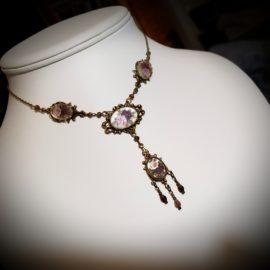 Blue Pressed Glass Flower Choker and Burgundy Pink Rose Victorian Choker