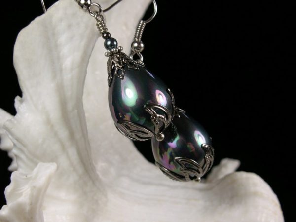 Tahitian Pearl Silver Earrings 3