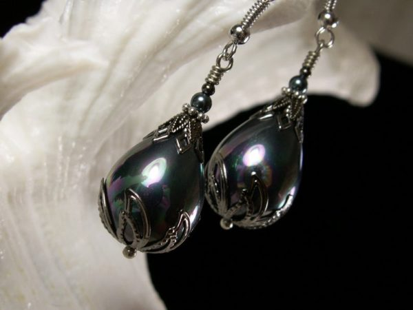 Tahitian Pearl Silver Earrings 5