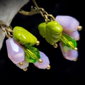 Grape Cluster Sea Opal Earrings A1